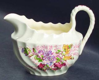 Spode Fairy Dell (Swirled) Creamer, Fine China Dinnerware   Multicolor Floral Sp