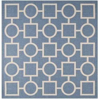 Safavieh Contemporary Indoor/outdoor Courtyard Blue/beige Rug (710 Square)