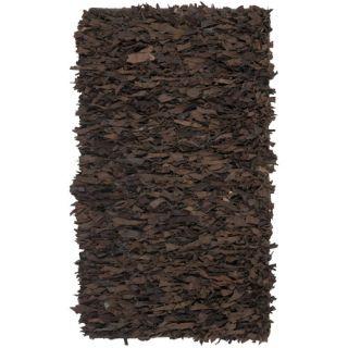 Safavieh Leather Shag Dark Brown Rug LSG421D