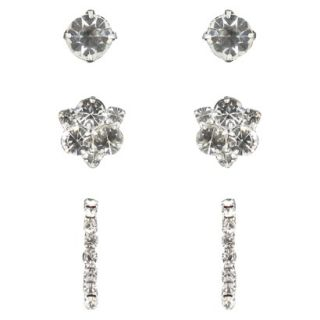 Trio Rhinestone Stud, Cluster & Half Hoop Post Earrings  Silver/Clear
