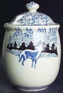 Tienshan Wolf Large Canister, Fine China Dinnerware   Blue/Black Sponge Wolf&Mou