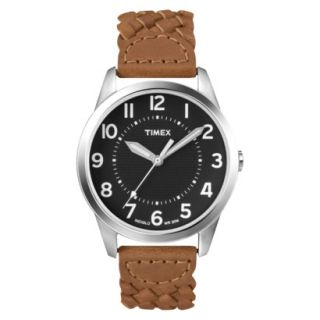 Mens Timex Fullsize Weekender Casual Watch Woven with Black Dial   Brown