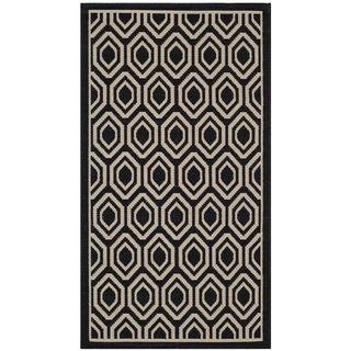 Safavieh Traditional Indoor/ Outdoor Courtyard Black/ Beige Rug (27 X 5)