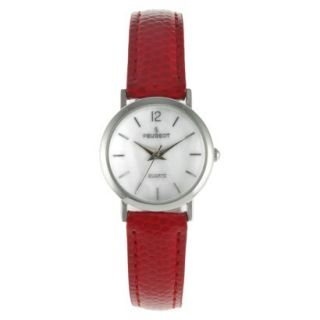Womens Peugeot Classic Red Leather Silver Dial Watch   Red