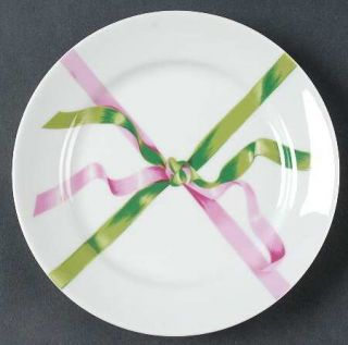 Porclan Jacques Cour Pjc2 Salad Plate, Fine China Dinnerware   Green & Pink Ribb