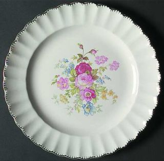 Limoges American June Rose (No Gold Filigree) Dinner Plate, Fine China Dinnerwar