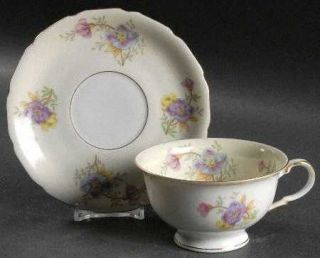 Black Knight Rambler Rose Footed Cup & Saucer Set, Fine China Dinnerware   Multi