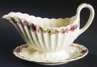 Spode Hazel Dell (White) Gravy Boat with Attached Underplate, Fine China Dinnerw