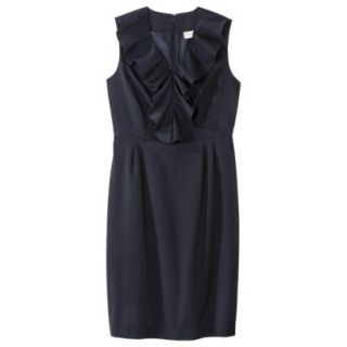 Merona Womens Twill Ruffle Neck Dress   Federal Blue   4