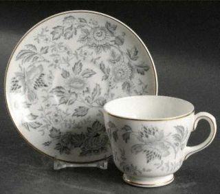 Wedgwood Avon Gray (Gold) Flat Cup & Saucer Set, Fine China Dinnerware   Gray Al