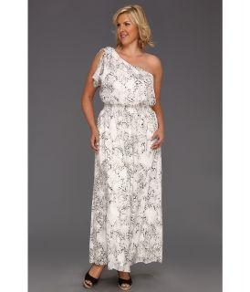 Jessica Simpson Plus Size One Shoulder Smock Waist Dress Womens Dress (Gray)