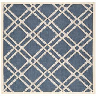 Safavieh Indoor/outdoor Diamond pattern Courtyard Navy/beige Rug (67 Square)