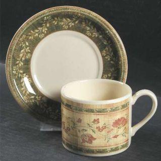 Johnson Brothers Mc Baine Flat Cup & Saucer Set, Fine China Dinnerware   Flowers