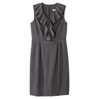 Merona Womens Twill Ruffle Neck Dress   Heather Gray   18