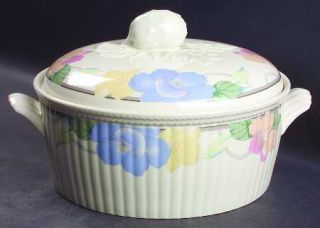 Mikasa Garden Poetry 3 Quart Round Covered Casserole, Fine China Dinnerware   In