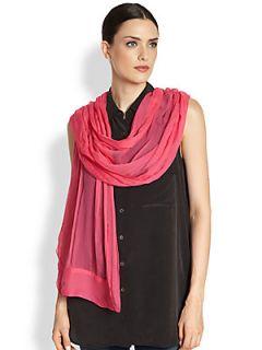 Ilana Wolf Crinkle Silk Chiffon Scarf   Pink