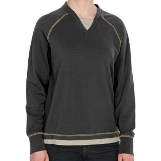 Woolrich Weekend Wear Lounge Shirt   Stretch French Terry Cotton  V Neck (For Women)   MOS MOSS (S )