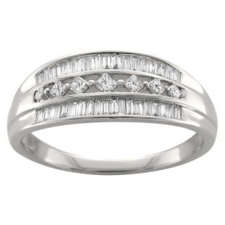 1/2 CT. T.W. Princess and Baguette Cut Diamond Band Prong Set 3 Row Ring in 14K