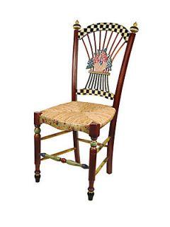 MacKenzie Childs Dark Flower Basket Side Chair   No Color
