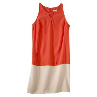 Merona Womens Colorblock Hem Shift Dress   Hot Orange/Hampton Beige   14