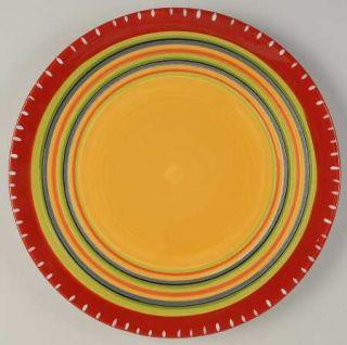 Hot Tamale Dinner Plate, Fine China Dinnerware   Red,Orange,Green,Yellow,Stripes