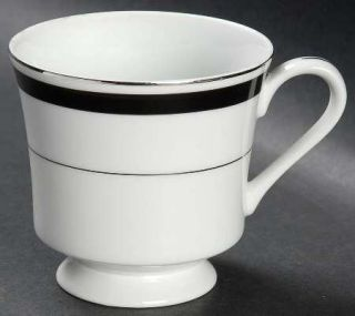 Montgomery Ward Courier Footed Cup, Fine China Dinnerware   Black Band,Platinum