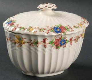 Spode Hazel Dell (White) Sugar Bowl & Lid, Fine China Dinnerware   White, Multic