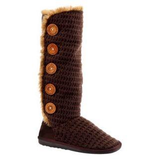 Womens MUK LUKS Malena Crotchet Button Up Boot   Brown 8