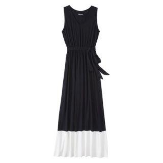 Merona Womens Knit Colorblock Maxi Dress   Black/Sour Cream   L