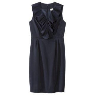 Merona Womens Twill Ruffle Neck Dress   Federal Blue   6