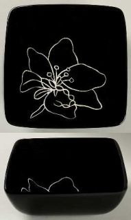 Laurie Gates Anna Black Soup/Cereal Bowl, Fine China Dinnerware   Black Body,Flo