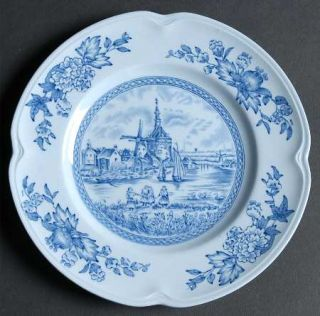 Johnson Brothers Tulip Time Blue (Blue Background) Bread & Butter Plate, Fine Ch