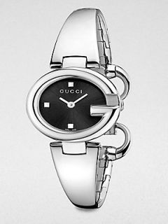 Gucci Stainless Steel Bangle Watch/Black   Silver