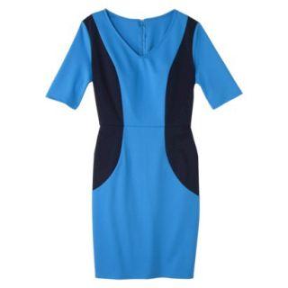 Merona Womens Ponte V Neck Color Block Dress   Brilliant Blue/Navy   L