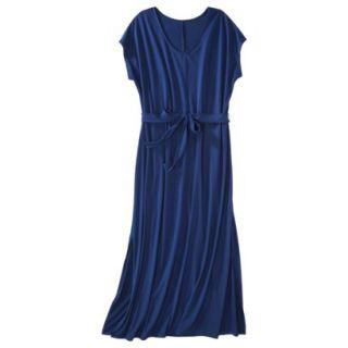 Merona Womens Plus Size Short Sleeve V Neck Maxi Dress   Blue 4