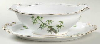 Hira China Tan Kay Gravy Boat with Attached Underplate, Fine China Dinnerware