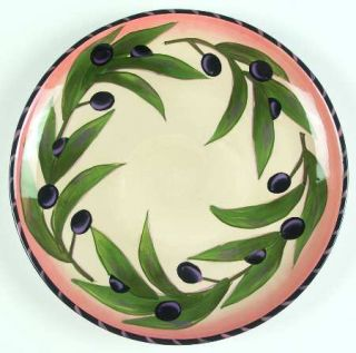 Clay Art Oliva Rustica Dinner Plate, Fine China Dinnerware   Olives&Leaves,Strip