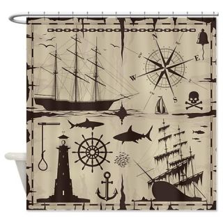 Set Of Nautical Design Elements   Shower Curtain  Use code FREECART at Checkout