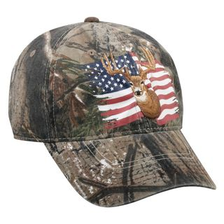 Realtree Deer And American Flag Adjustable Hat (60 percent cotton, 40 percent polyesterOne size fits mostMid profile unstructured cap with pre curved visorScreen print and flat stitch embroidery on frontVelcro closure)