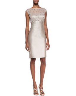 Womens Cap Sleeve Mesh & Sequin Top Cocktail Dress, Champagne   Kay Unger New