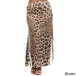 Tabeez Womens Plus Size Animal Print Maxi Skirt