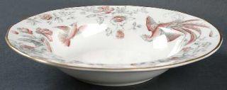Royal Worcester Lakme Pink/Gray Rim Soup Bowl, Fine China Dinnerware   Pink & Gr