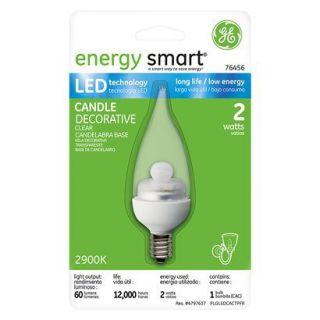 GE 2 Watt LED Bent Tip Light Bulb Candelabra Base   Clear