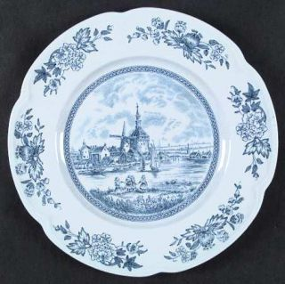 Johnson Brothers Tulip Time Blue (Blue Background) Dinner Plate, Fine China Dinn