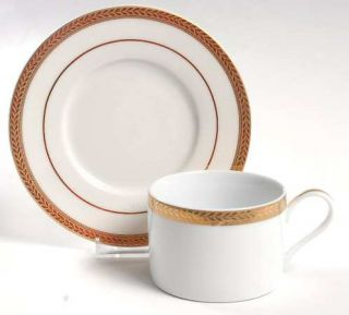 Block China Manchester Gold Flat Cup & Saucer Set, Fine China Dinnerware   Gold