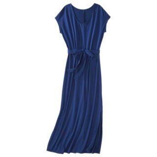 Merona Womens Knit V Neck T Shirt Maxi Dress   Waterloo Blue   S