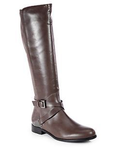 Aquatalia by Marvin K Darla Suede and Leather Riding Boots   Mushroom