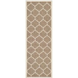 Safavieh Indoor/ Outdoor Courtyard Brown/ Bone Rug (23 X 10)