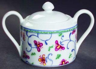 Interiors (PTS) Portuguese Tile Sugar Bowl & Lid, Fine China Dinnerware   Tile B