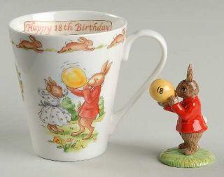 Royal Doulton Bunnykins (Albion Shape) (Happy 18th Birthday) Mug & Figurine Set,